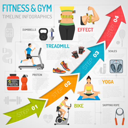 Ilustración de Fitness, Gym, Cardio, Yoga, Healthy Lifestyle Timeline Infographics for Mobile Applications, Web Site, Advertising with Exercise Bike, Dambbells, Treadmill and Arrows. - Imagen libre de derechos