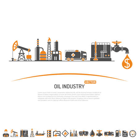 Illustration for Oil industry Concept with Two Color Flat Icons extraction production and transportation oil and petrol. isolated vector illustration. - Royalty Free Image