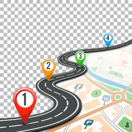 Illustration for Business Concept with Timeline Road Infographics, Map and Pin Pointers on Transparent Background. Flat style icons. Isolated Vector Illustration - Royalty Free Image