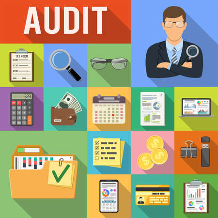 Photo pour Auditing, Tax, Business Accounting Flat Icons Set on colored squares with Long Shadows. Auditor Holds Magnifying Glass in Hand, Charts, Calculator and Smartphone. Vector illustration - image libre de droit