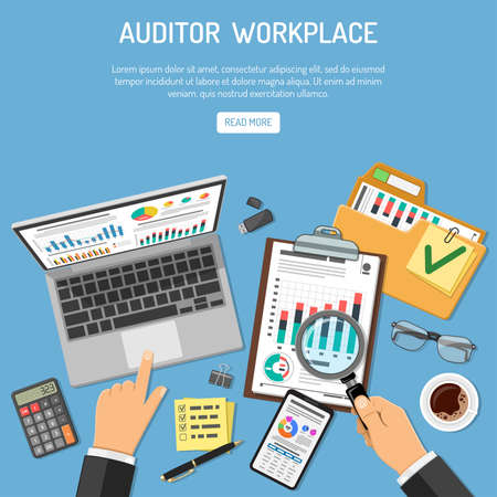 Illustration pour Auditor Workplace, Auditing, Business accounting Concept. Auditor holds magnifier in hand and checks financial report. Flat style icons. Isolated vector illustration - image libre de droit