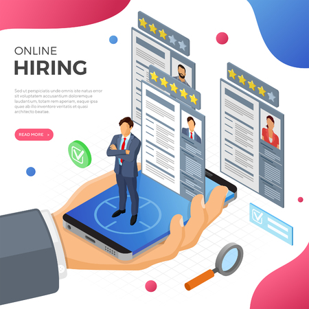 Online isometric employment, recruitment and hiring concept. Internet job agency human resources. Hand with smartphone, job seeker and resume. isolated vector illustration