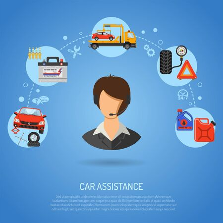 Illustration pour Car service, roadside assistance and maintenance banners with flat icons operator, car repair, tire service, support and tow truck. vector illustration - image libre de droit