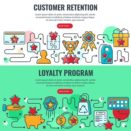 Illustration pour Loyalty Program and Customer Retention banners with colored line icons. Customer rewards with bonuses. Gift, discount coupons, bonus growth, exchange points, loyalty card. isolated vector illustration - image libre de droit