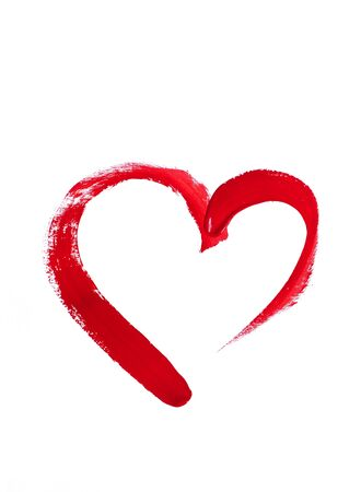 Photo pour Hand-drawn red heart on a white background - image libre de droit