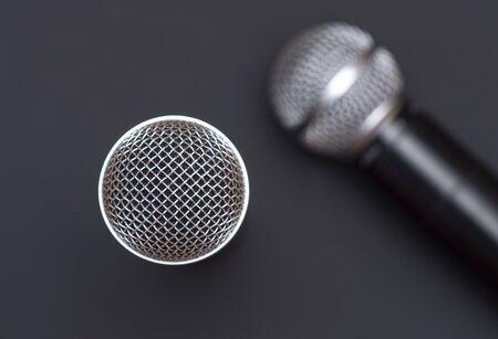 Photo pour Two karaoke microphone top view - image libre de droit