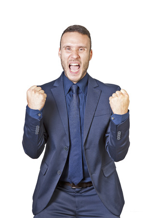 a young businessman shouts for success isolated on a white background