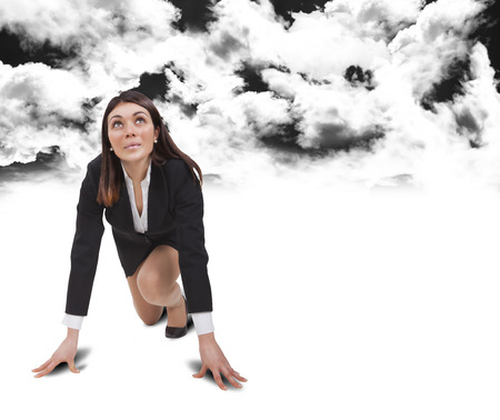start up woman below black clouds with white shirt