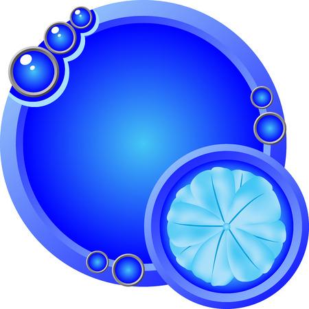Decorative Blue Logo or label illustration with blue flower