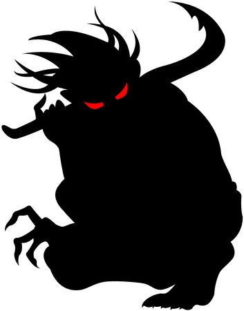 Vector image of devil silhouette, isolated
