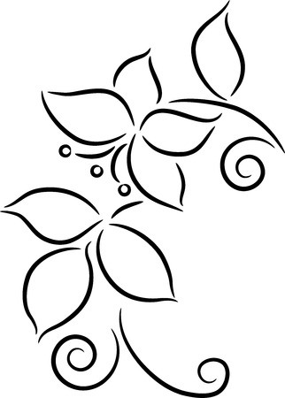 Ornament with leaves and flower, isolated. Vector illustration