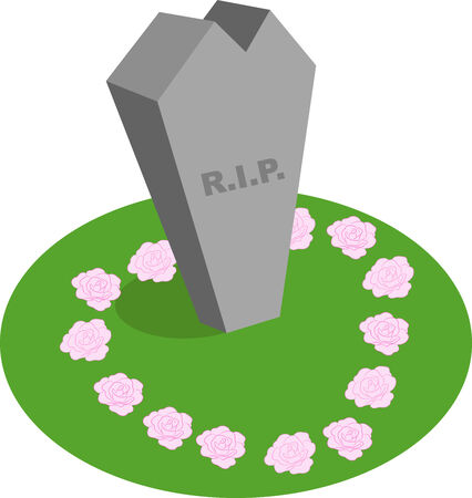 Illustration of a cartoon abstract tombstone with R.I.P written on it.
