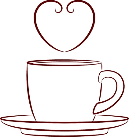 Vector illustration of a coffee cup and saucer, isolated