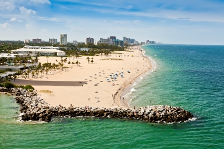 Long stretch of Ft  Lauderdale Beach in Florida with sandy beaches and numerous hotels and resorts