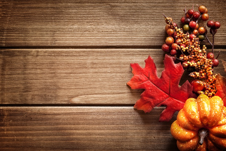 Photo for Autumn decorated wooden background, room for text. - Royalty Free Image