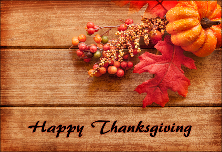 Photo for Happy Thanksgiving greeting card with text and autumn arrangement. - Royalty Free Image