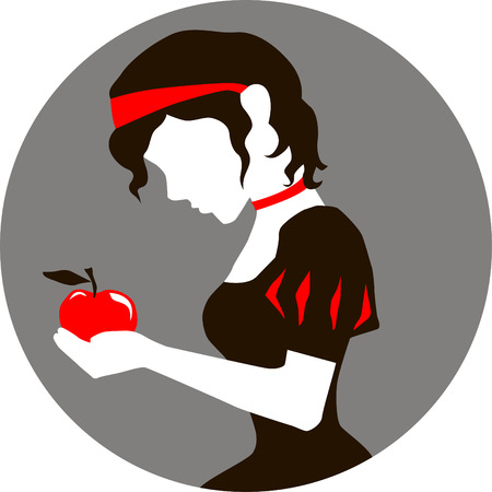 Illustration of Snow White with an apple in hands