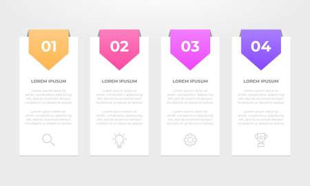 Illustration pour Colourful infographic steps with text boxes. Business concept with 4 steps. - image libre de droit