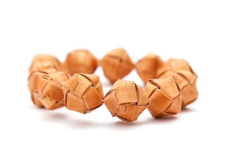 traditional finnish bracelet made with birch bark beads