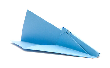 blue paper plane isolated on white