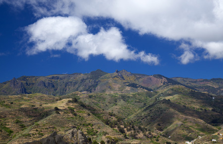 Inland Gran Canaria, April, view towards Las Cumbres, the highest areas of the island, flowering slopes