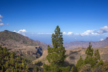 Gran Canaria,  October, view from a hiking path across valley Barranco de Juncal