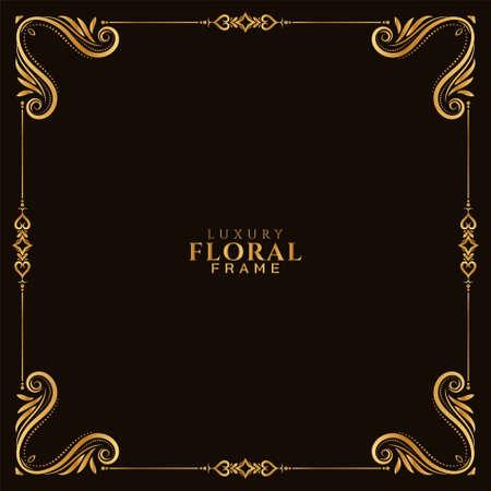 Illustration for Elegant golden floral frame decorative background vector - Royalty Free Image