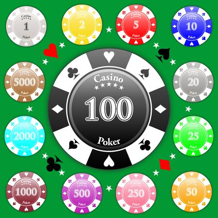 Set of poker chips of value from 1 to 5000.