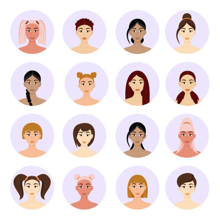 Illustration for Set of avatar women's hairstyles. Beautiful young girls with different hairstyles isolated on a white background. - Royalty Free Image