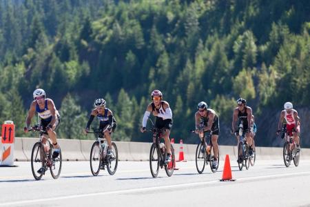 Photo pour COEUR D ALENE, ID - JUNE 23:  Malachi Henery gives a thumbs up at the June 23, 2013 Ironman Triathlon in Coeur d'Alene, Idaho. - image libre de droit