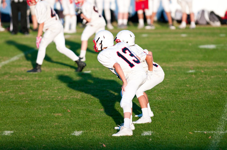 Photo for Quarterback during a game with his quarterback waiting for the snap. - Royalty Free Image