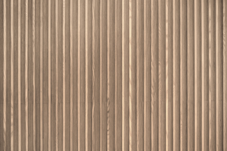 Foto de Wood slats, timber battens wall pattern surface texture. Close-up of interior material for design decoration background - Imagen libre de derechos