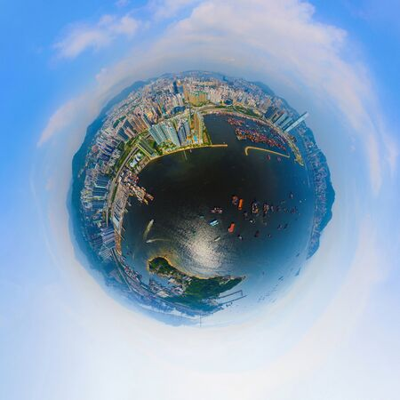 Photo for Little planet 360 degree sphere birds eye view. Panoramic view of aerial view of Hong Kong Downtown. Financial district and business centers in technology smart city. Skyscraper buildings at noon. - Royalty Free Image