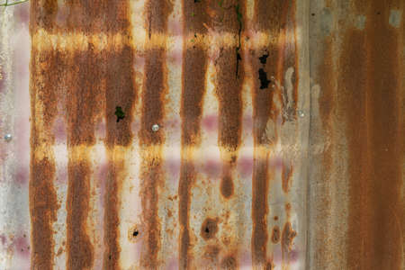 Photo pour Metal steel strips. Rusty corrugated iron metal, Zinc steel wall, pattern texture background. Close-up of exterior architecture material for design decoration background. - image libre de droit