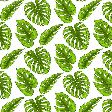 Illustration pour Tropical seamless pattern with exotic leaves in cartoon style. Bright summer print for design and background. - image libre de droit