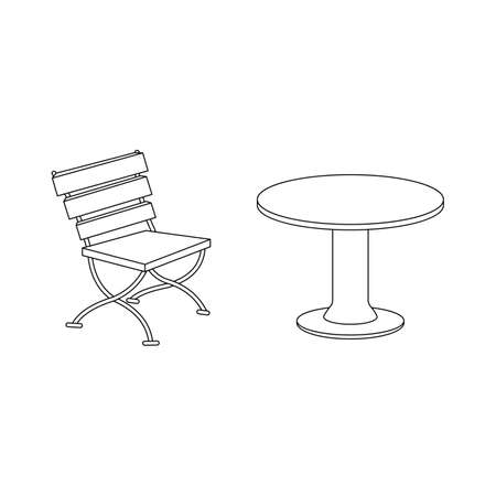 Illustration pour Table, chair for bar, restaurant, cafe. Vector illustration isolated on a white background. Outline, line, icon, drawing. - image libre de droit