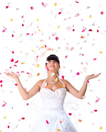 Cute bride throws rose petals. White background