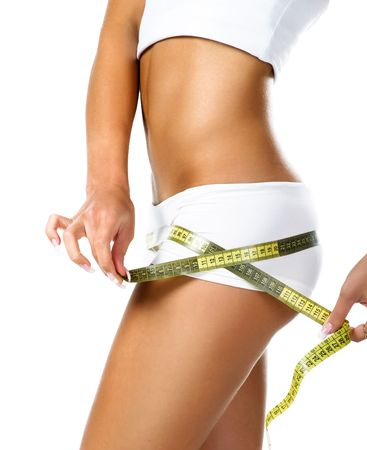 Photo pour Woman measuring perfect shape of beautiful hips. Healthy lifestyles concept  - image libre de droit