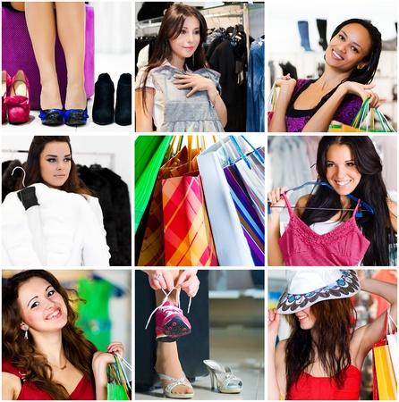 Foto de Pretty woman in the shop. Collage - Imagen libre de derechos
