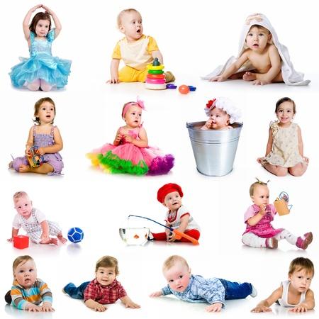 Photo pour collection baby photos  on a white background - image libre de droit