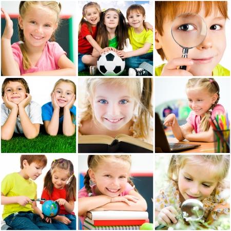Foto de collage of photographs on the subject of education  schoolchildren are trained - Imagen libre de derechos
