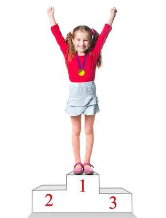 winner on a podium isolated on a white background