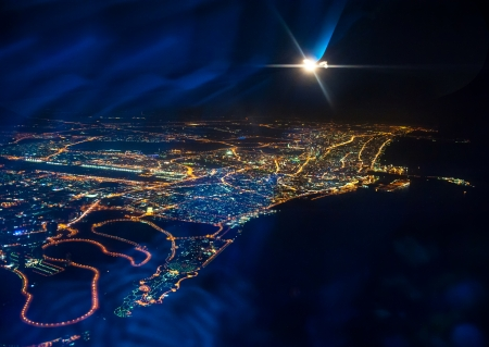 Beautiful view from the the plane on night Dubai  United Arab Emirates