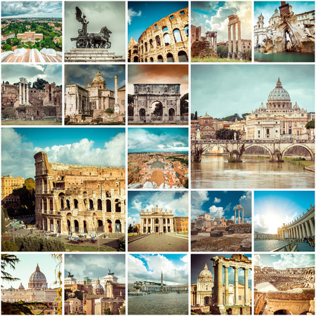 Collage of photos from Rome. Italy