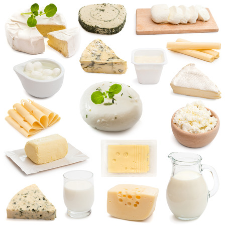 collage collection dairy products on a white backgroundの写真素材