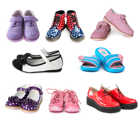 Photo pour collage of different kids shoes isolated on white background - image libre de droit