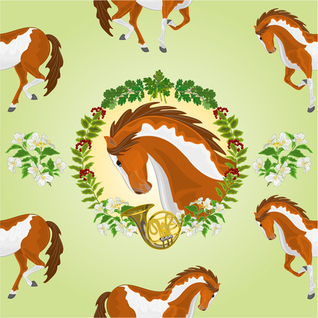 Seamless  texture piebald horse head of stallion leaves and french horn hunting theme vector  illustration
