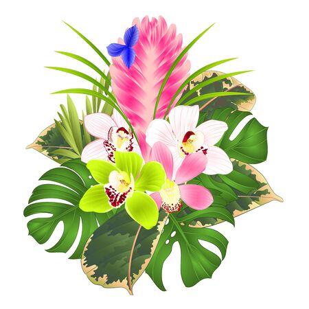 Illustration pour Tillandsia cyanea and orchids cymbidium various bouquet with tropical flowers palm,philodendron on a white background vintage vector illustration editable hand draw - image libre de droit