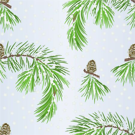 Illustration pour Seamless texture branch pine tree and pine cone with snow  vintage vector illustration editable hand draw - image libre de droit