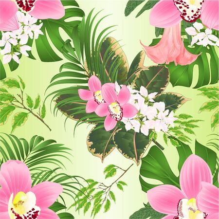 Illustration pour Seamless texture with tropical flowers  floral arrangement, with beautiful pink orchids cymbidium,ficus benjamina , palm,philodendron and Brugmansia  vintage vector illustration  editable hand draw - image libre de droit